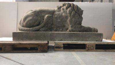 restauratie stenen leeuw villa servais halle
